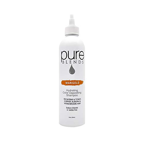 Pure Blends Hydrating Color Depositing Shampoo - Marigold (Copper, Auburn, and Warm Brown Hair) 8.5 Ounce - Salon Quality