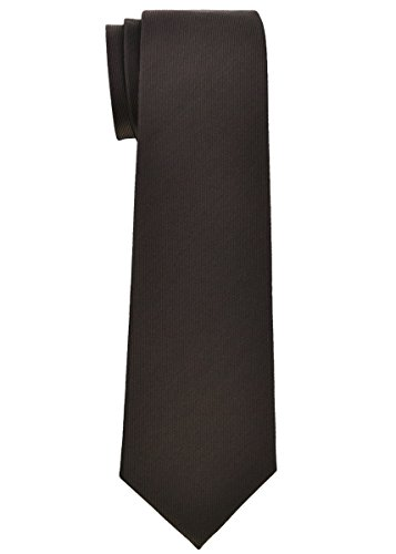 (Retreez Solid Plain Color with Stripe Textured Woven Microfiber Boy's Tie (8-10 years) - Dark Brown)
