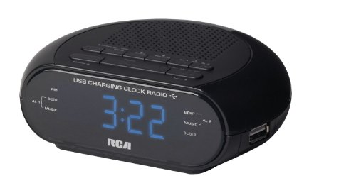 RCA Radio reloj despertador dual con cargador USB