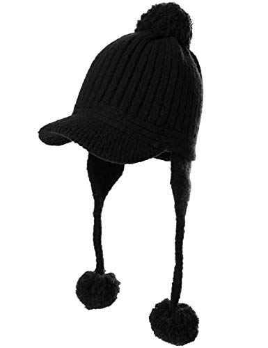 (Peruvian Beanie Ear Flaps Hat Pom Visor Knit Newsboy Womens Winter Hunting Snow Hat Cold Weather Ladies Black)