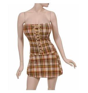 Brown biege yellow green plaid corset short dress strapless (Corset Dream)
