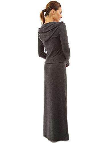 PattyBoutik Mujer vestido maxi cazadora con capucha del bolsillo gris oscuro jaspeado