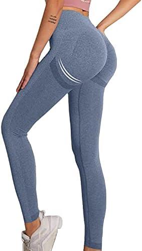 Laisiyi Butt Lifting Yoga Pants,High Waist Gym Shark Leggings for Woman Seamless Tummy Control Workout Running Tights