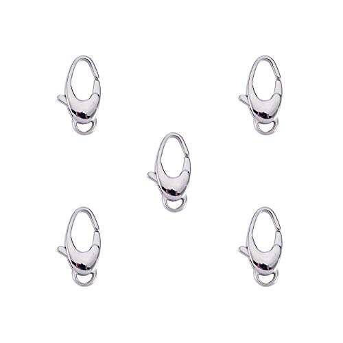 PandaHall Elite 5 Pcs 304 Stainless Steel Oval Shape Lobster Claw Clasps Size 20x10mm for Jewelry Making Findings