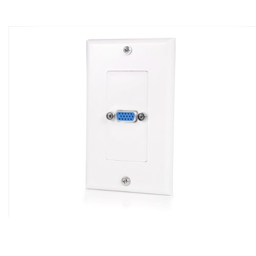 Single Outlet 15-Pin Female VGA Wall Plate - White ()