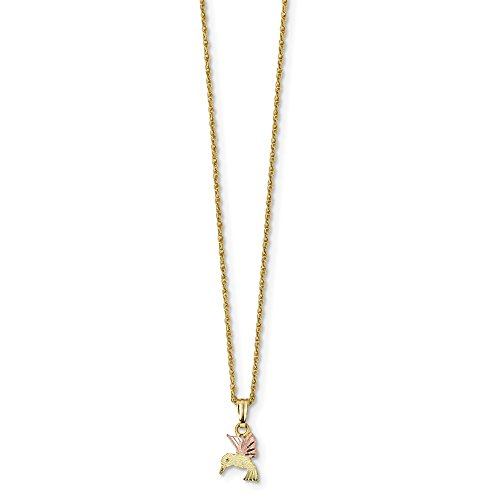 Jewel Tie 10k Tri-Color Black Hills Gold Hummingbird Necklace Chain 18