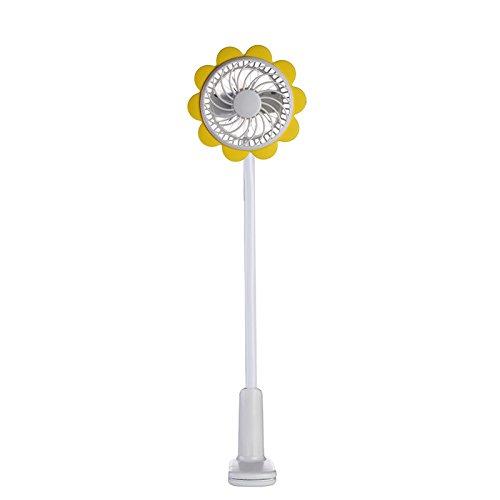 Adjustable Table Portable Micro USB Fan with Bendable Clip Adjustable Sunflower Shape Mini USB Desktop Fan Flexible Neck and Adjustable Fan Speed I Portable Desk Fan for Home Office Travel-Yellow by JiiJian (Image #6)