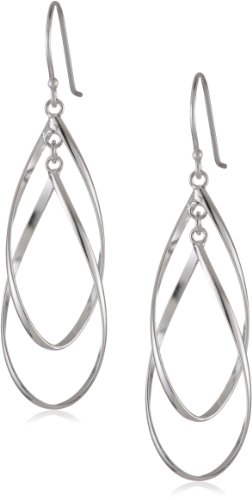 Sterling Silver Double Elongated Oval Twist French Wire Earrings ()