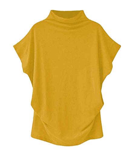 (VLDO Sweatshirts for Women Casual Loose Linen Soild Lace Splice Button Short Sleeve Tops (Yellow, XXXXL))
