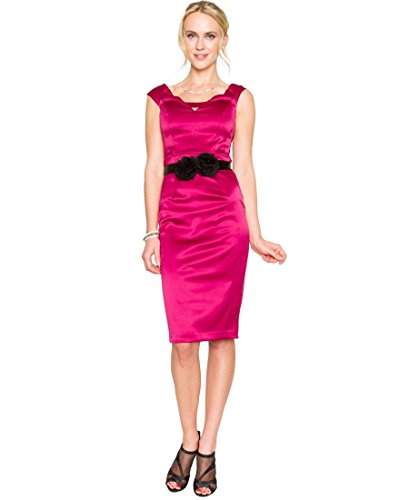 Satin Sheath (LE CHÂTEAU Women's Stretch Satin Sheath Dress,M,Plum)