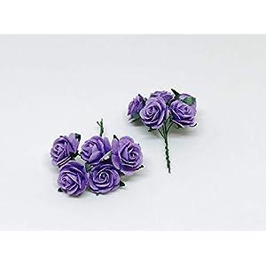 "1"" Purple Paper Flowers Paper Rose Artificial Flowers Fake Flowers Artificial Roses Paper Craft Flowers Paper Rose Flower Mulberry Paper Flowers, 20 Pieces 3"