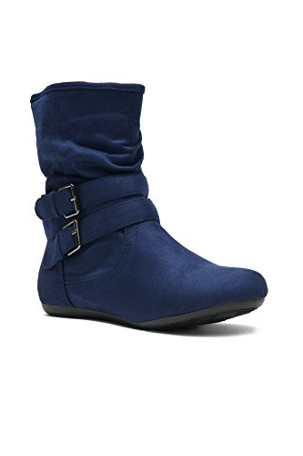 Herstyle Lindell Women's Lindell Stacked Heel, Round Toe, Riding Tight High Navy (Navy Blue Double Arch)