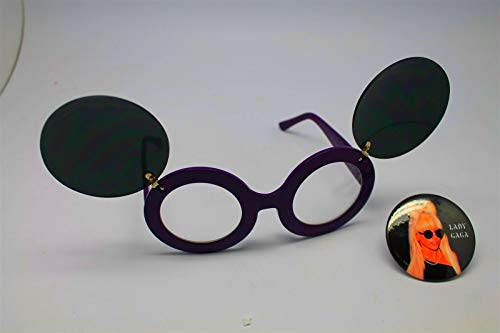 Button Pin of Lady Gaga Wearing Mouse Ear Flip Up Purple Clear Lens Sunglasses #LU01 (Gaga Flip Sunglasses Up Lady)