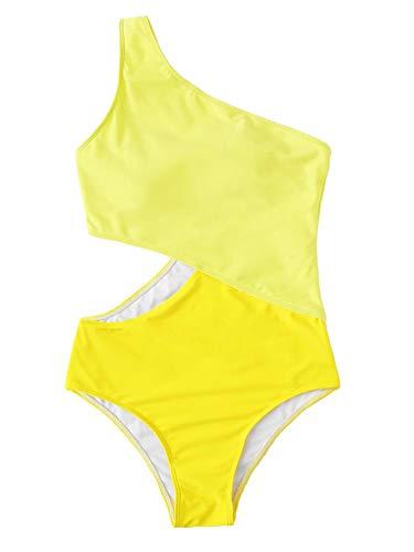 (SweatyRocks Women's Bathing Suits One Shoulder Cutout One Piece Swimsuit Swimwear Monokini Yellow Medium)
