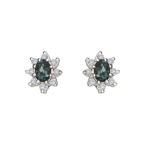 Alexandrite Color Change Natrual Diamond Earring in 14K White (14k Wg Diamond Dangle)