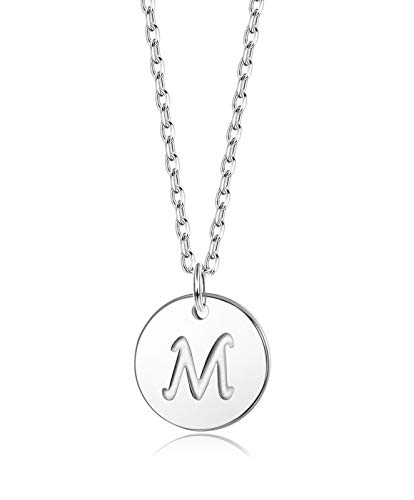 Sllaiss Initial Pendant Necklace Round Disc Engraved Letter Pendant 925 Sterling Silver Personalized Alphabet Pendant for Women Girls Teen (M)