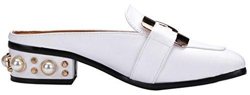 Calaier Mujer Cahave Bloquear 3CM Cuero Ponerse Zuecos Zapatos Blanco