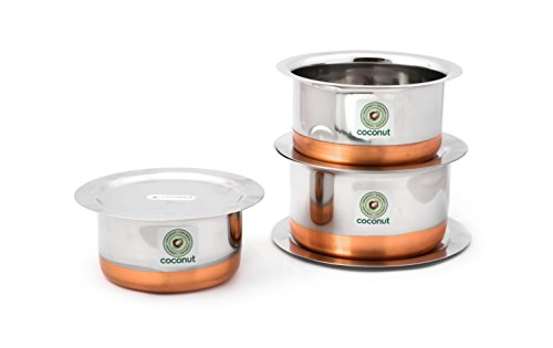 KCL Coconut Stainless Steel Copper Base Tope and Lid Cookware  750, 1000 and 1500 ml   Set of 3