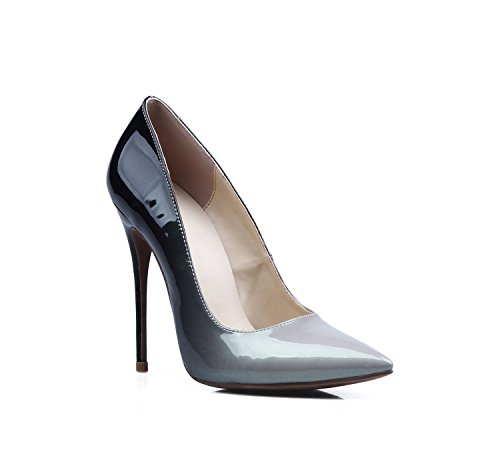 Kevin Fashion Womens Stiletto High Heel Patent Leather Club Party Evening Pumps Shoes Gray/Black