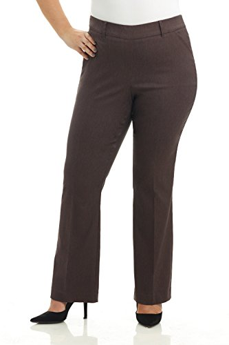 Rekucci Curvy Woman Ease in to Comfort Fit Barely Bootcut Plus Size Pant (18W,Brown Mix) ()