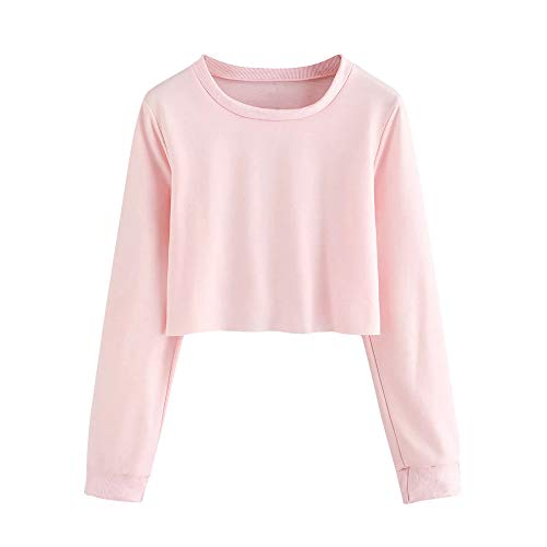 Womens Hooded Shirt, Long Sleeve O Neck Solid Sweatshirt ANJUNIE Pullover Tops Blouse(Pink,M)