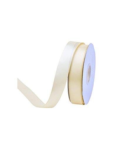 Ribest 1 inch 50 Yards Solid Double Face Satin Ribbon per Roll for DIY Hair Accessories Scrapbooking Gift Packaging Party Decoration Wedding Flowers Ivory