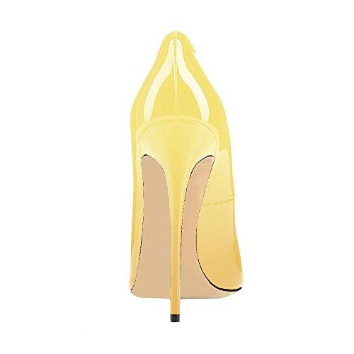 Frauen Stiletto Lack Pumps Hochzeit Lutalica Spitz Sexy Abend Farbverlauf Schuhe Jaune Heel 6CqTwgd7