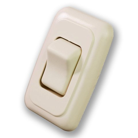 (Single SPST On-Off Switch with Bezel, 12-Volt, for RV, Trailer, Camper (Almond))