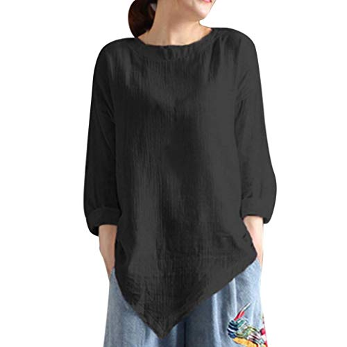 Clearance!Youngh New Womens Blouses Plus Size Solid Blouses Loose Long Sleeve Vintage Cotton Linen Fashion Blouse T Shirt Tops by Youngh Top