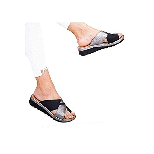 2019 New Women Comfy Platform Toe Ring Wedge Sandals Shoes Summer Beach Travel Shoes Comfortable Flip Flop - Concealed Wedge