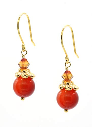 - 14k Gold Plated Flower Crown Accented Carnelian Drop Earrings made with Swarovski Crystals