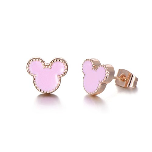 Rose Gold Plated Stainless Steel Mixed Color Cute Pineapple Mouse Love Parrot Ladybug Stud Earrings Set by HYZ (Image #7)