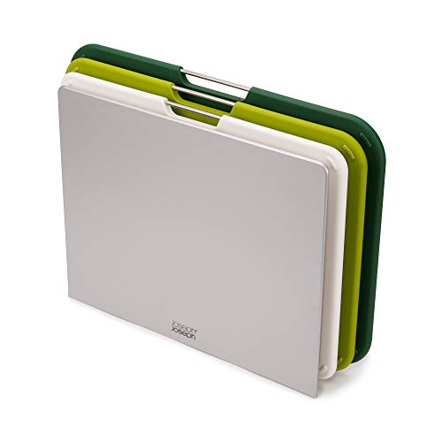 Joseph Joseph Nest Plastic Cutting Set with Storage Stand 3 Different Sized Boards, Large, Green