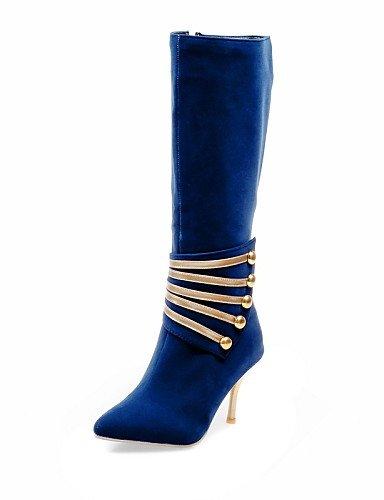 XZZ  Damenschuhe - Stiefel - Büro   Kleid - Kunstleder - Stöckelabsatz - Spitzschuh   Modische Stiefel - Schwarz   Blau   Rot B01L1GJVZ6 Sport- & Outdoorschuhe Qualität zuerst