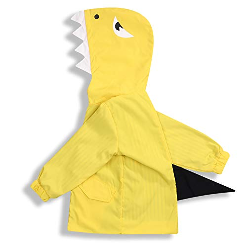 Toddler Baby Boy Girl Duck Raincoat Cute Cartoon Hoodie Zipper Coat Outfit (Little Shark, 3T)