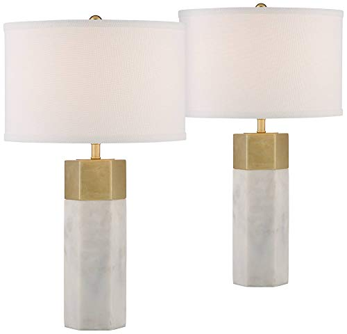 Leala Modern Table Lamps Set of 2 Hexagonal Faux Marble and Gold Drum Shade for Living Room Family Bedroom Office - Possini Euro Design