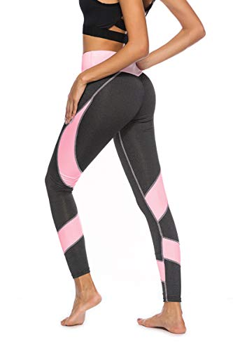 AmDxD Sport Pants Polyester Athletic Pants Running Pants for Girls Patchwork Yoga Leggings Grey Pink Size M (Gym Equipments For Home Price In India)