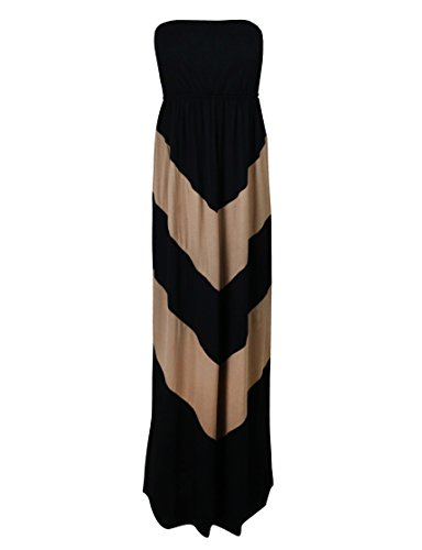 Makeitmint Women's Sleeveless Strapless Chevron Stripe Long Maxi Dress Small YOD0033_Bkmocha