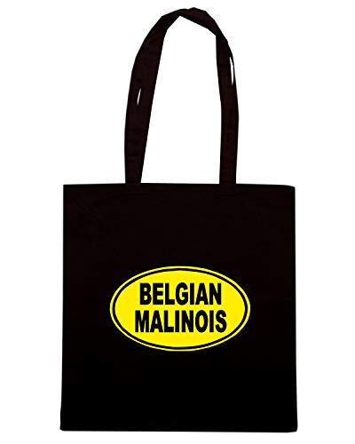 Speed Shirt Borsa Shopper Nera FUN0747 BELGIAN MALINOIS OVAL 59784