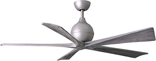 Matthews IR5-BN-BW-60 Irene 60 Outdoor Ceiling Fan with Remote Wall Control, 5 Wood Blades, Brushed Nickel