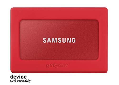 getgear Silicone Bumper for Samsung T7, T7 Touch Portable SSD - 1TB, 2TB, 500GB, USB 3.2, Strong-Shock Absorbing, Slip-Resistant-Red