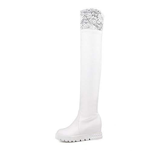 A&N Womens Lace Platform Heighten Inside Imitated Leather Boots White z4ogqJBuPa