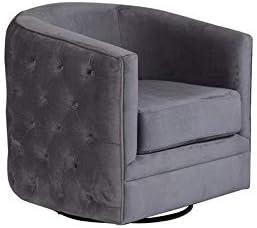 Hawthorne Collections Gabby Tufted Velvet Microfiber Swivel Chair – Gray