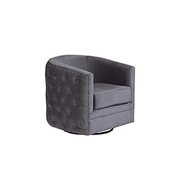 Surprising Hawthorne Collections Gabby Tufted Velvet Microfiber Swivel Chair Gray Beatyapartments Chair Design Images Beatyapartmentscom