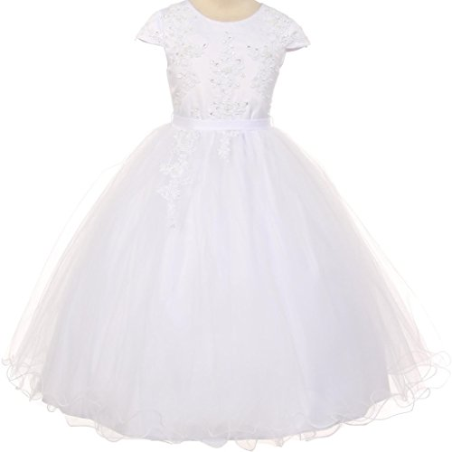Big Girls' Cap Sleeve Pearl Sequin Communion Flowers Girls Dresses White 14 by Dreamer P