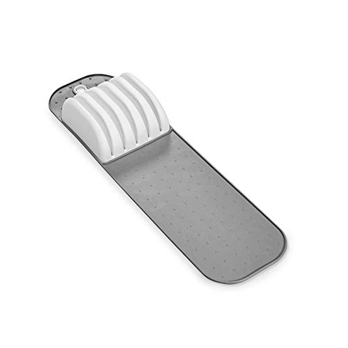 madesmart Small In-Drawer Knife Mat - White | CLASSIC COLLECTION | Holds up to 5 Knives | Safe | Open Design to fit Any Size Knife | Soft-grip Slots and -
