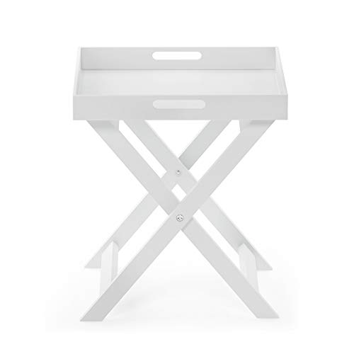 Furinno Rolland Folding Tray Side Table, White (Tray Table White)