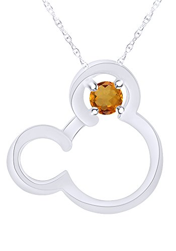 Wishrocks Round Cut Simulated Citrine Mickey Mouse Pendant Necklace in 14K White Gold Over Sterling Silver
