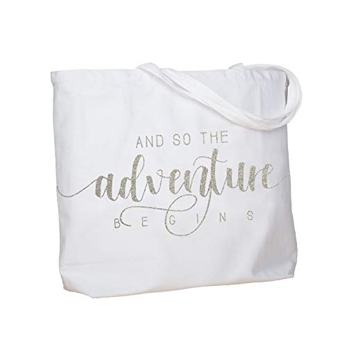 (ElegantPark and So The Adventure Begins Wedding Bride Tote Bachelorette Party Gift Personalized Travel Shoulder Bag Canvas White with Silver Glitter)