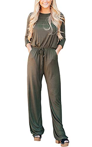 ECOWISH Womens 3/4 Sleeve Casual Loose Fit Rompers Wide Leg Tie Waist Drawstring Solid Jumpsuit with Pockets Army Green Small
